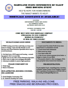 Maryland State Conference OF NAACP Free Housing Event